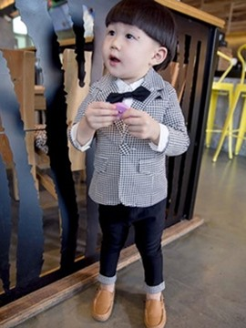 Ericdress Plaid Jacket And Pant 2-Pcs Baby Boys Outfit