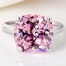 Ericdress Square Pink Imitation Diamond 925 Silver Ring