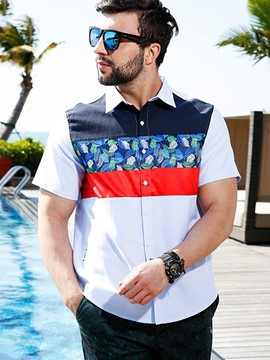 Ericdress Color Block Patchwork Plus Size Casual Men's Shirt