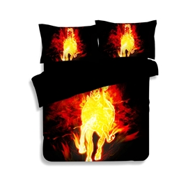 Stunning Flaming Horse Print 4-Piece Polyester Duvet Cover Sets