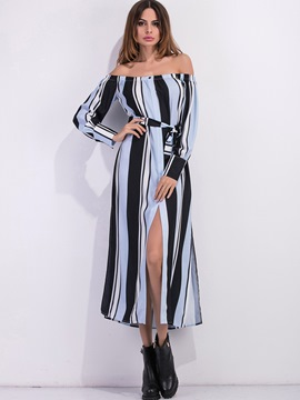 Ericdress Platinum Plated Patchwork Lace-Up Split Maxi Dress