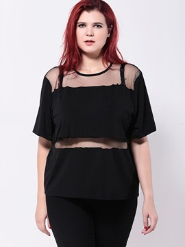 Ericdress Plus Size See-Through Patchwork Fashion Blouse