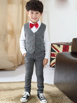 Ericdress Shirt Stripe Vest Pants 3-Pcs Boys Outfit