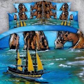 Sea View and Boat Printed Cotton 3D 4-Piece Blue Bedding Sets/Duvet Covers