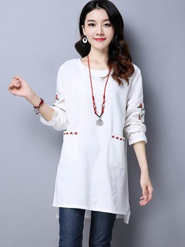 Ericdress Floral Embroidery Ethnic T-Shirt