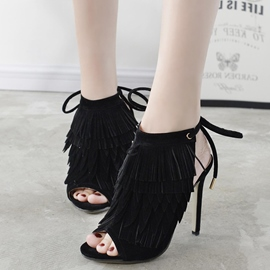 Ericdress Eurameric Peep Toe Tassels Decorated Stiletto Sandals