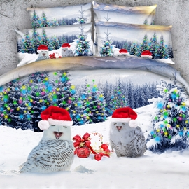 Owls with Christmas Caps Printed Cotton 4-Piece 3D Bedding Sets/Duvet Covers
