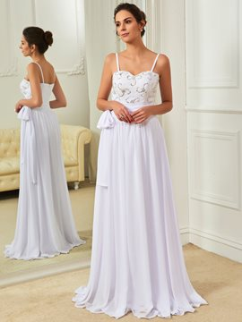 Casual Spaghetti Straps Beaded A Line Chiffon Wedding Dress
