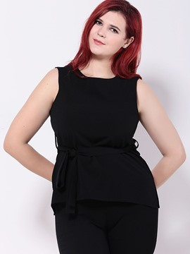 Ericdress Plus Size Black Chiffon Blouse