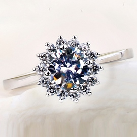 Ericdress Imitation Diamond Flower Wedding Ring