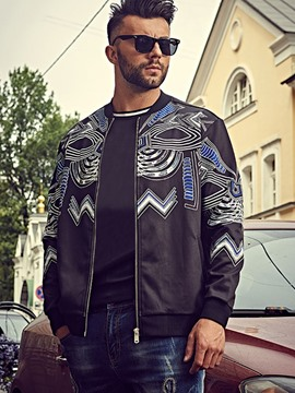 Ericdress Zip Plus Size Print Casual Men's Jacket