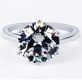 Ericdress Six Claw Imitation Diamond 925 Silver Ring