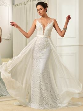 Ericdress Charming V Neck Lace Mermaid Wedding Dress