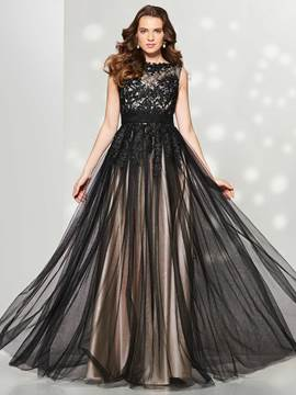 Ericdress A Line Bateau Lace Applique Tulle Long Prom Dress