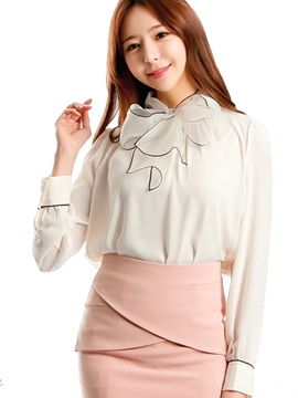 Ericdress Tie Bow Sweet White Blouse