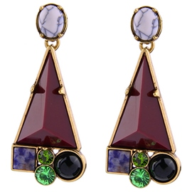 Ericdress Purple Triangle Stone Inlaid Women's Earrings