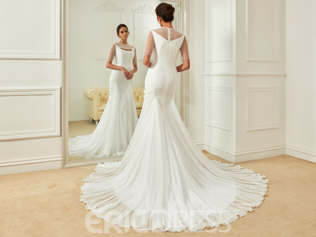 Ericdress Charming Jewel Lace Mermaid Wedding Dress With Sleeves