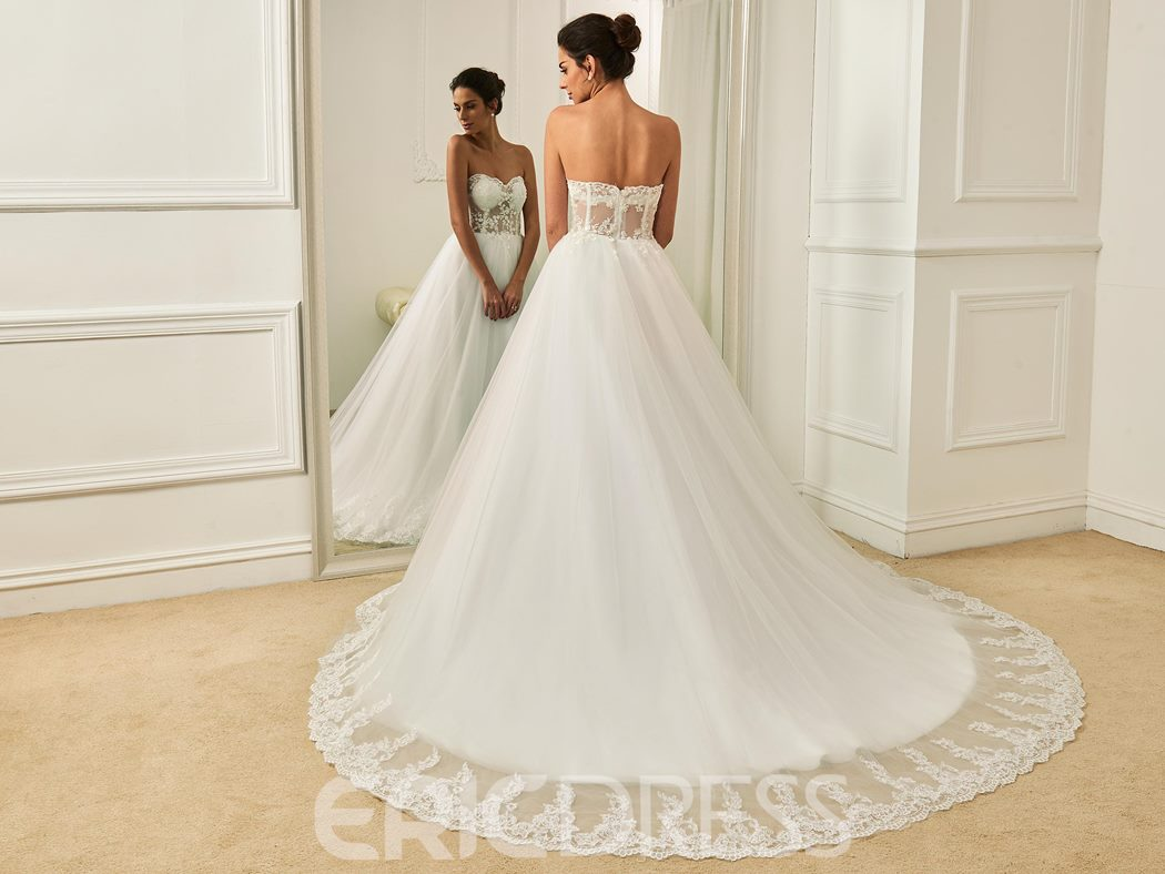 Ericdress Charming Sweetheart Appliques Ball Gown Wedding Dress