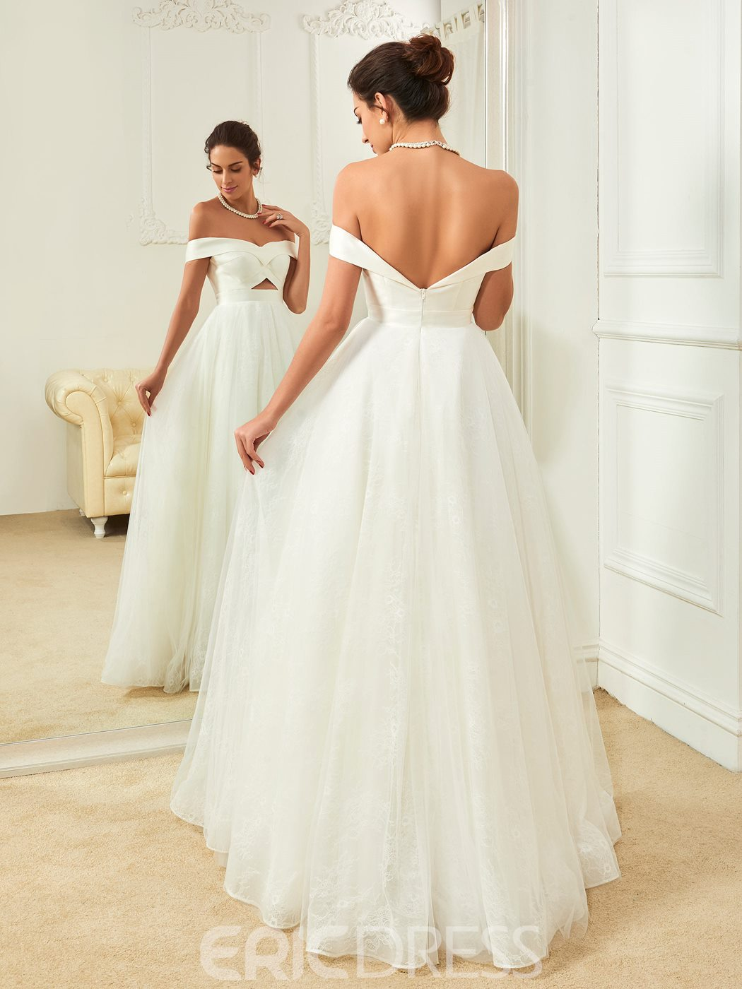 Ericdress Fancy Off The Shoulder A Line Backless Wedding Dress
