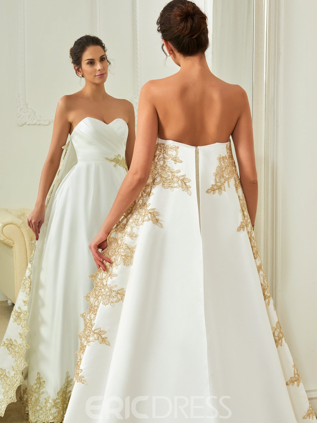 Ericdress Appliques Sweetheart A Line Color Wedding Dress