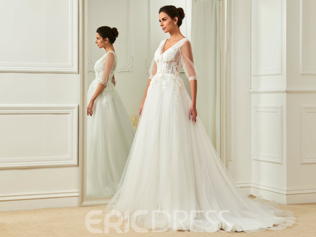 Ericdress Charming V Neck Appliques Half Sleeves A Line Wedding Dress