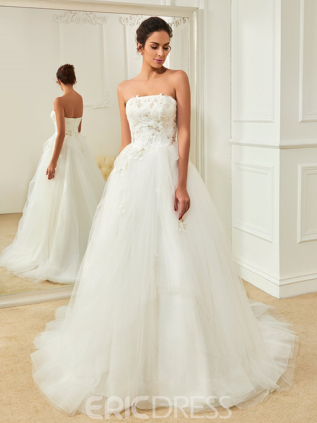 Ericdress High Quality Appliques Strapless A Line Wedding Dress