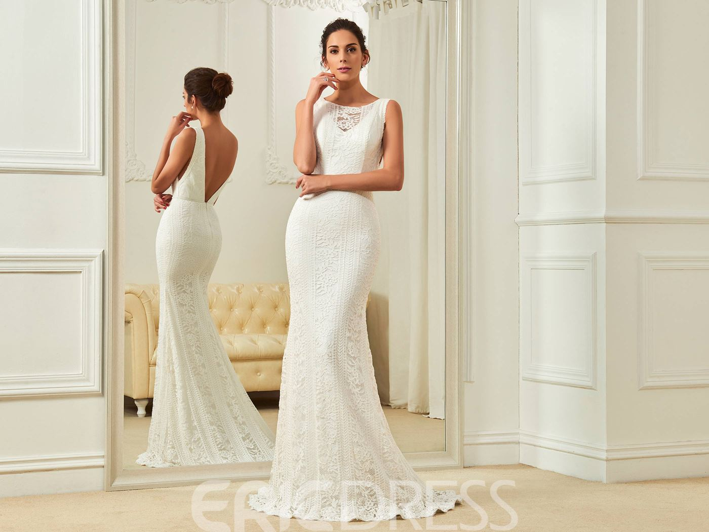 Ericdress Elegant Bateau Backless Mermaid Lace Wedding Dress