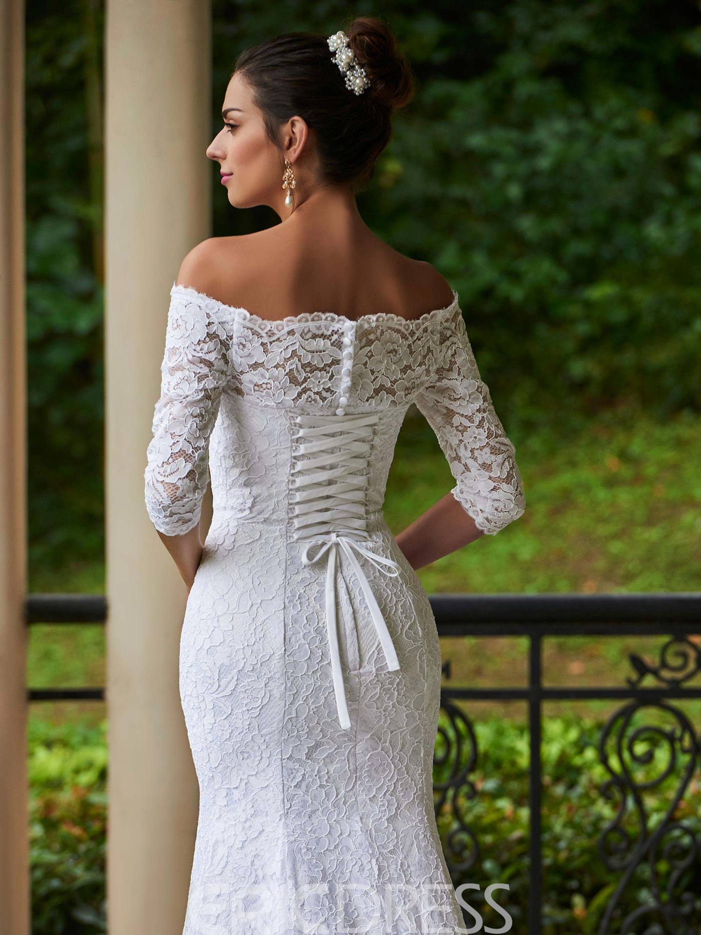 Ericdress Lace Mermaid Off The Shoulder Wedding Dress With Sleeves