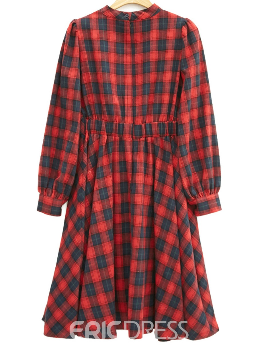 Ericdress JapanesePlaid Stand Collar Pleated Casual Dress