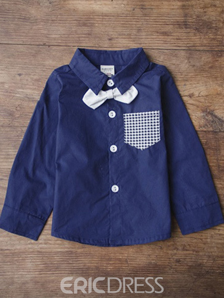 Ericdress Houndstooth Bowknot Plain Lapel England Boys Shirt