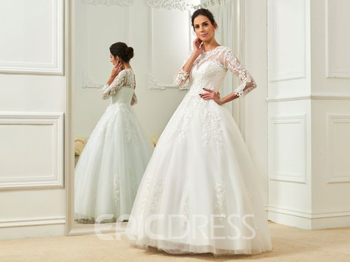 Ericdress Elegant Jewel Appliques Ball Gown Wedding Dress