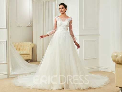 Ericdress Charming Bateau Appliques Beaded A Line Long Sleeves Wedding Dress