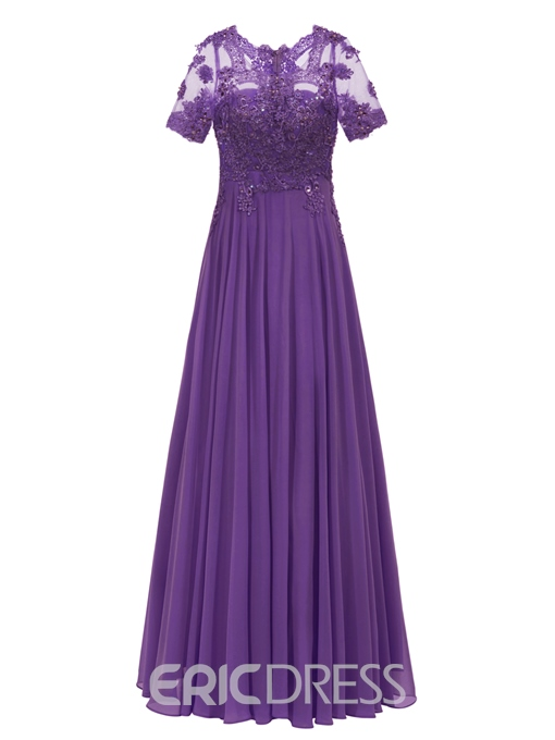Ericdress Short Sleeve Appliques Chiffon A Line Long Evening Dress