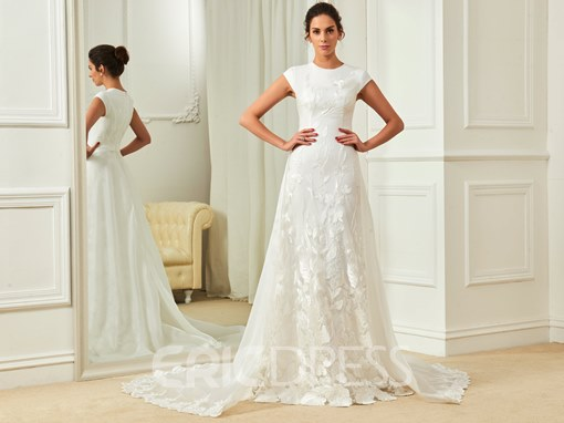 Ericdress Fancy Jewel Sheath Lace Wedding Dress