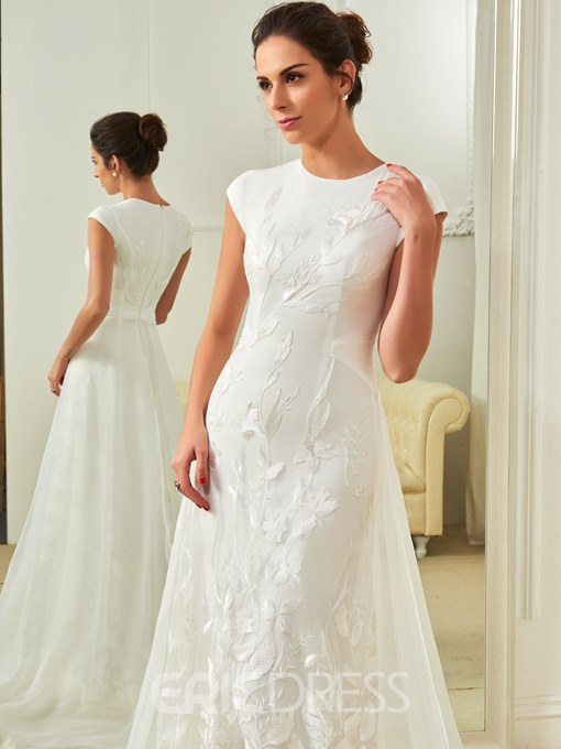 Ericdress Cap Sleeve Watteau Train Lace Wedding Dress