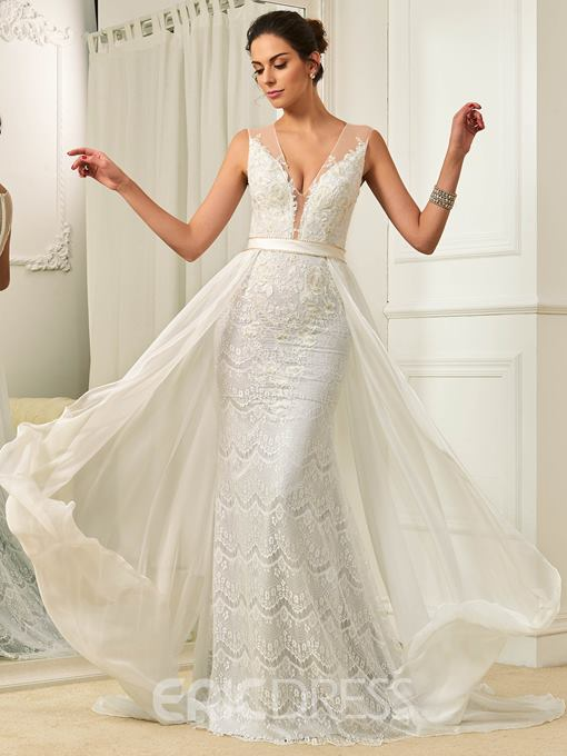 Ericdress Beading Lace Wedding Dress with Train