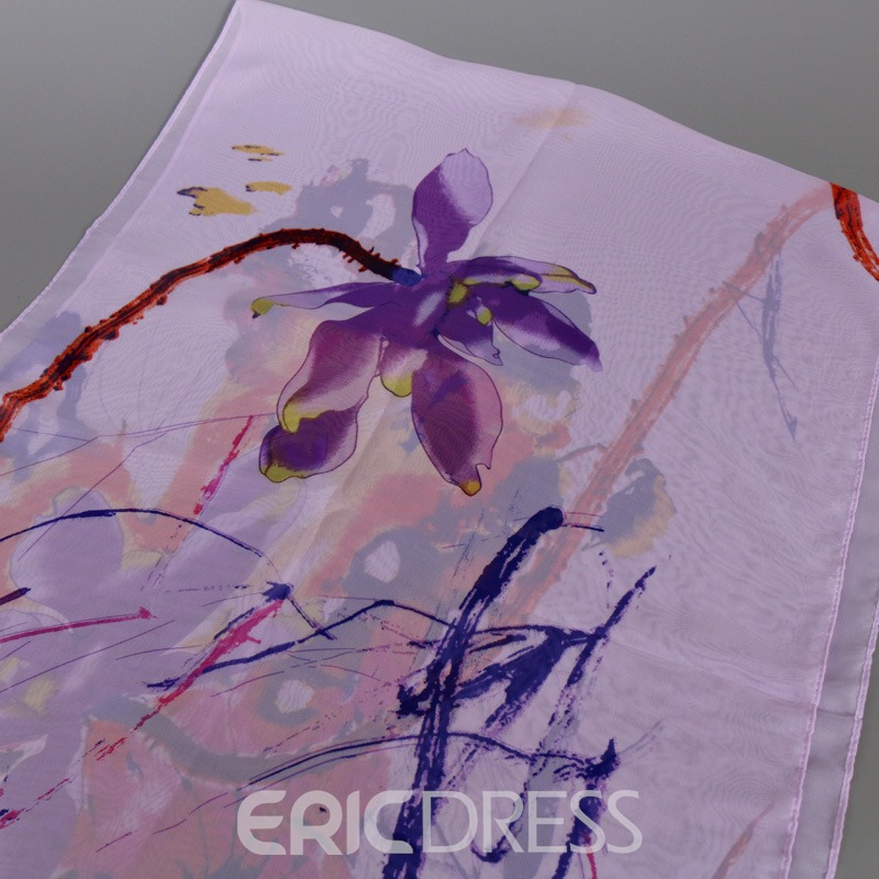 Ericdress Thin Chiffon Watercolour Printed Scarf
