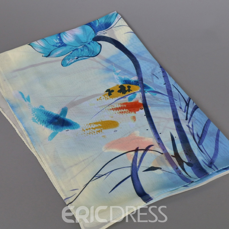 Ericdress Chinese Painting Printed Chiffon Scarf