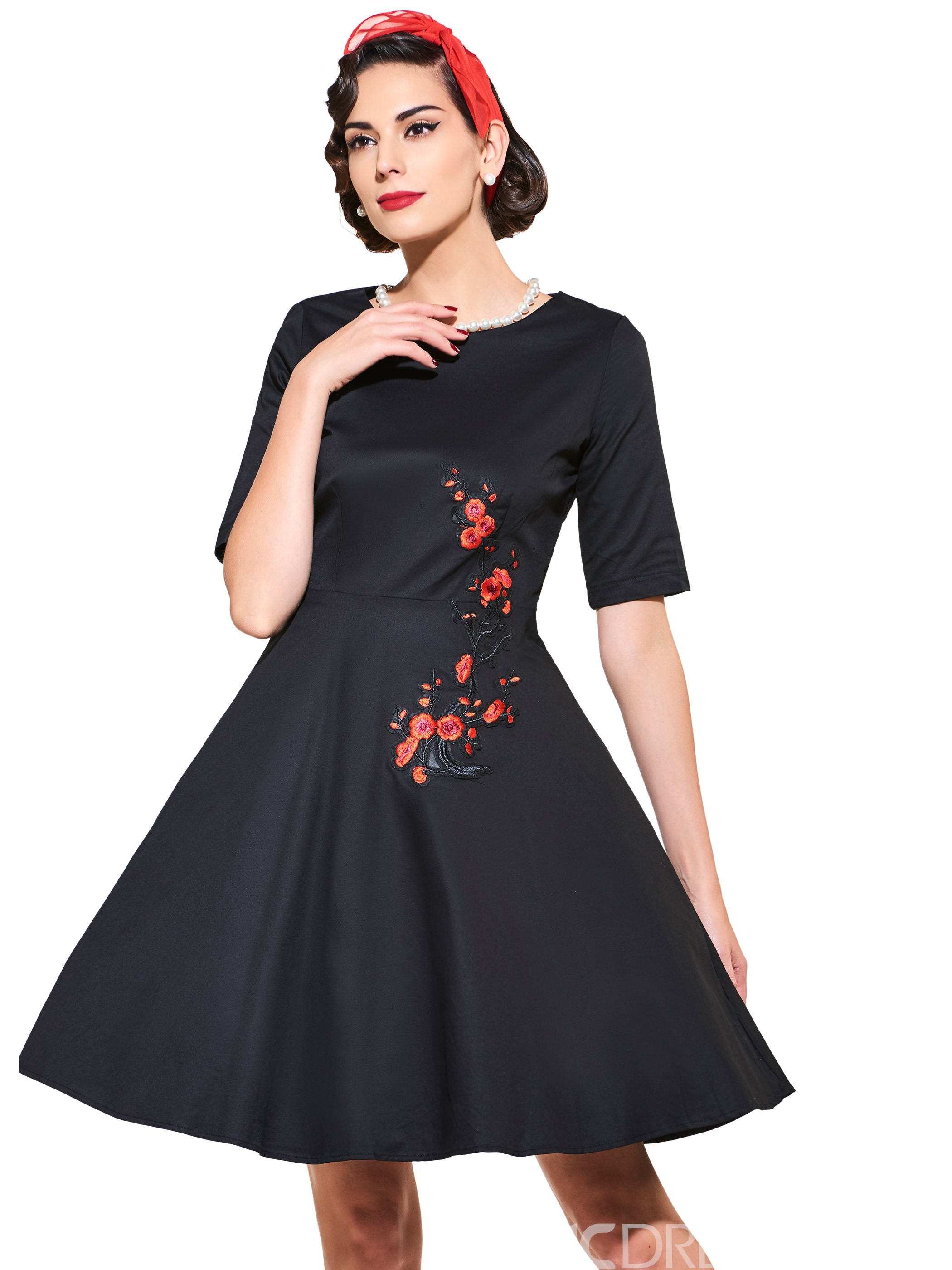 Ericdress Vintage Short Sleeve Print A Line Dress