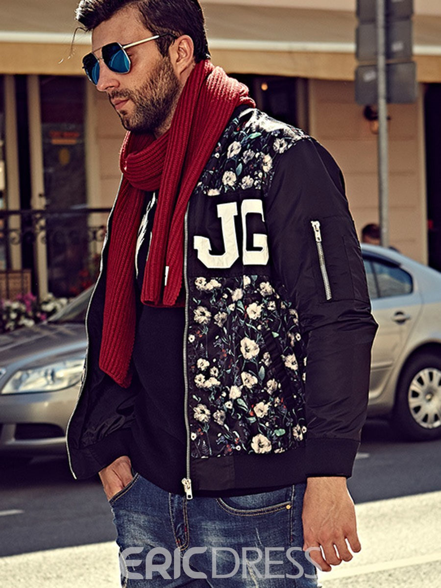 Ericdress Plus Size Floral Sleeve Pocket Smart Casual Men's Jacket