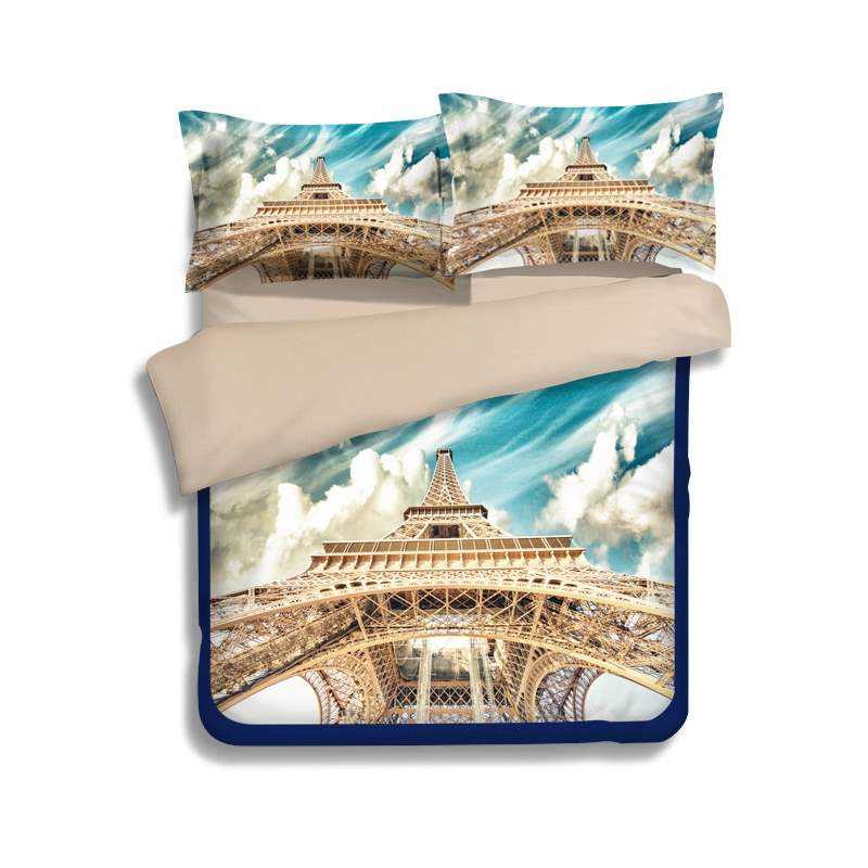 Amazing Eiffel Tower Under Blue Sky Print 4-Piece Polyester Duvet Cover Sets