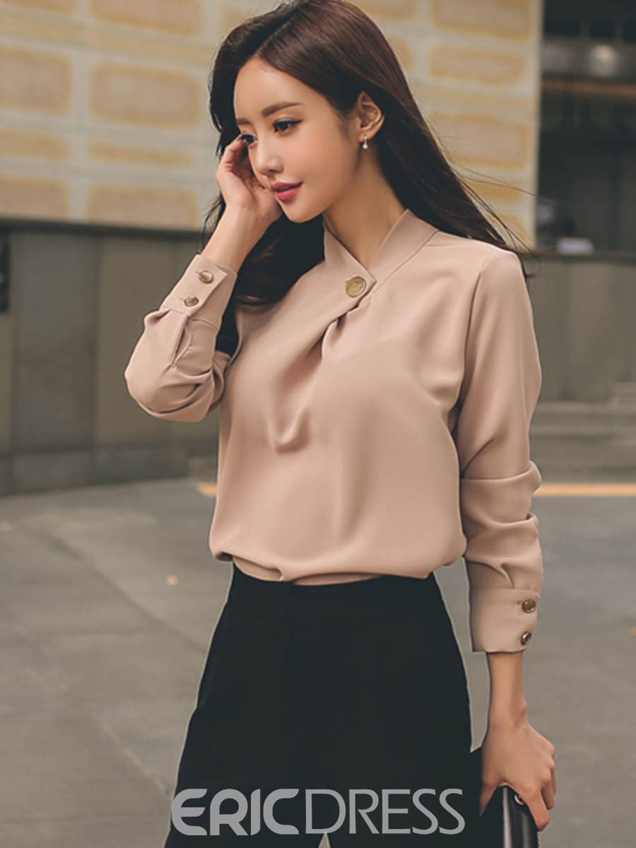 Ericdress One Button Solid Color Blouse