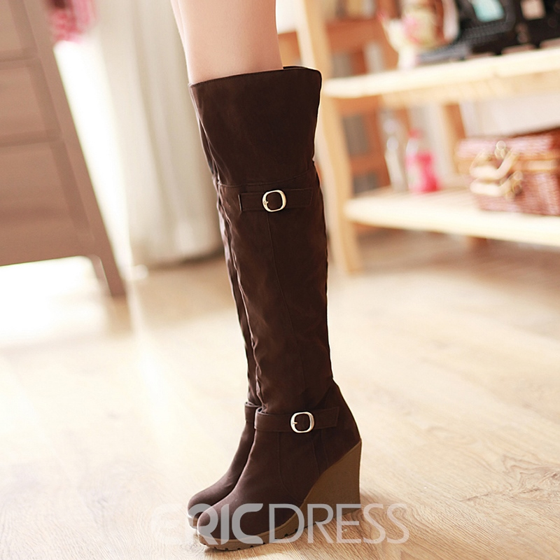 Ericdress Chic Suede Buckles Wedge Heel Thigh High Boots