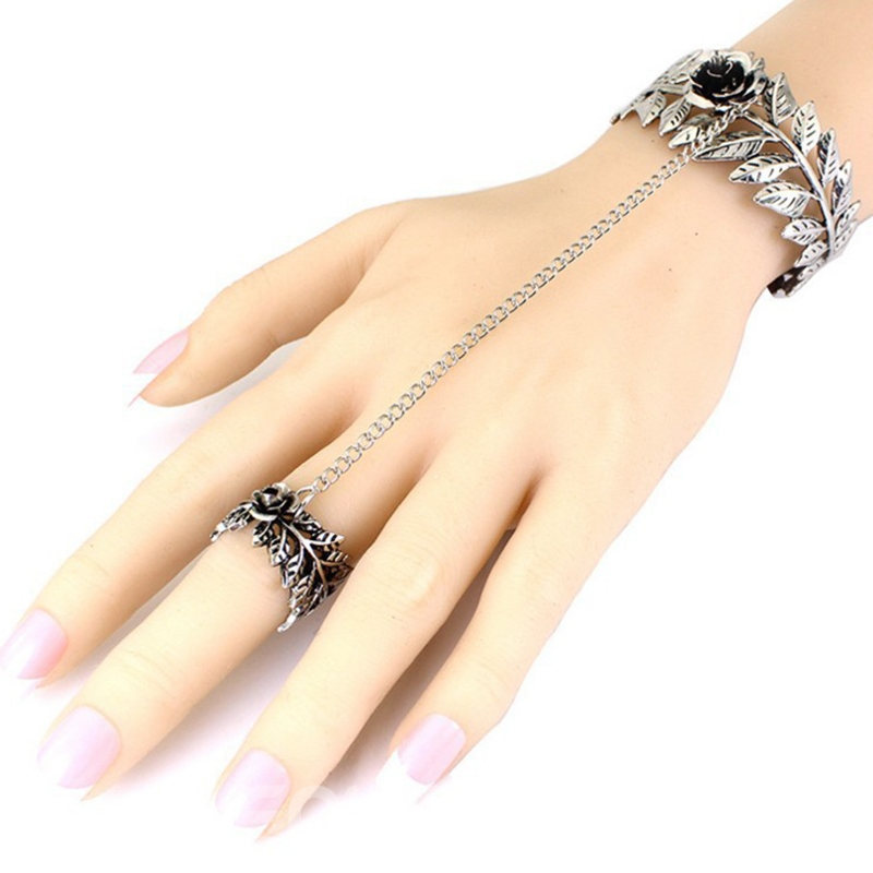 Ericdress Rose & Leaves Design Hollow-Out Bracelet with Ring