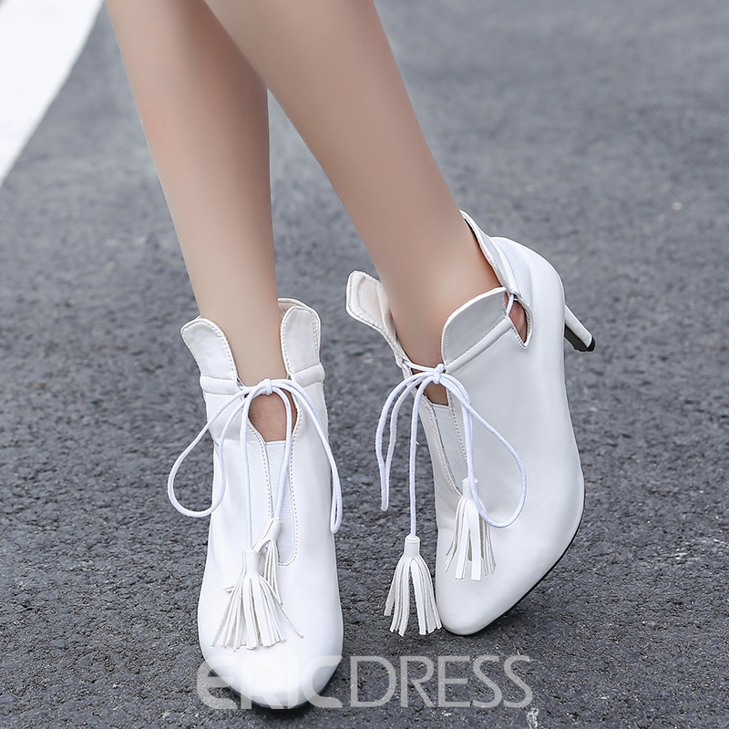 Ericdress PU Tassels Point Toe High Heel Boots