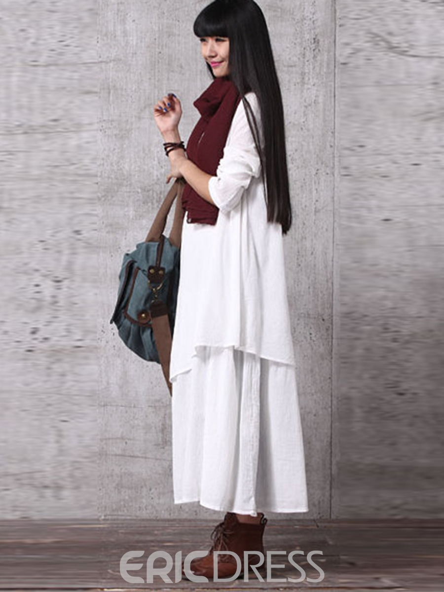 Ericdress Double-Layer Asymmetrical Long Sleeve Maxi Dress