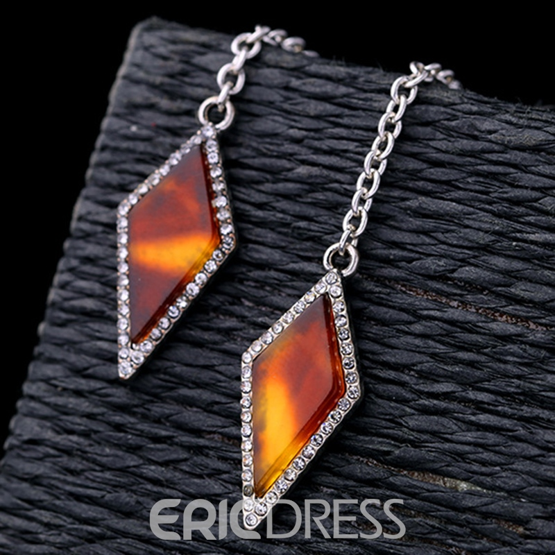 Ericdress Rhombus Synthetic Leopard Gemstone Design Earrings