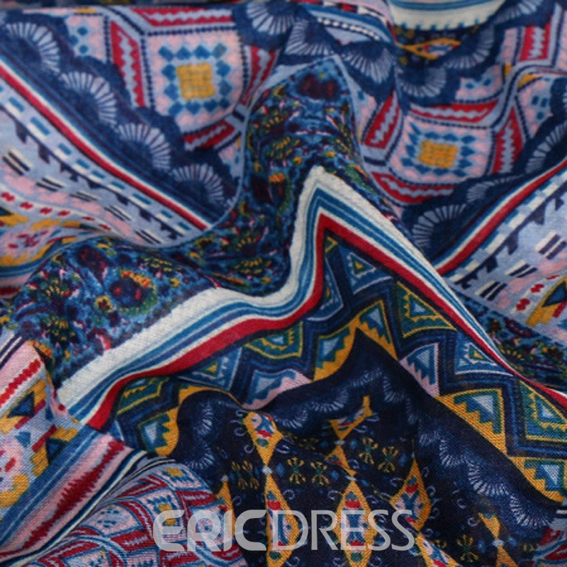 Ericdress Bohemian Geometric Printing Voile Scarf