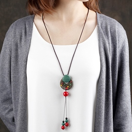 Ericdress Ethnic Style Moon Pendant Necklace with Tassels