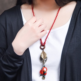 Ericdress Retro Red Ornaments Sweater Chain Necklace